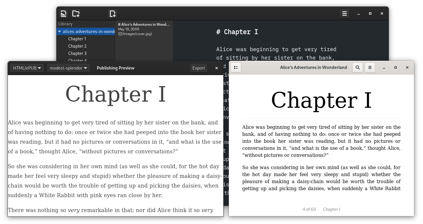 Screenshot of ePub Generated with ThiefMD