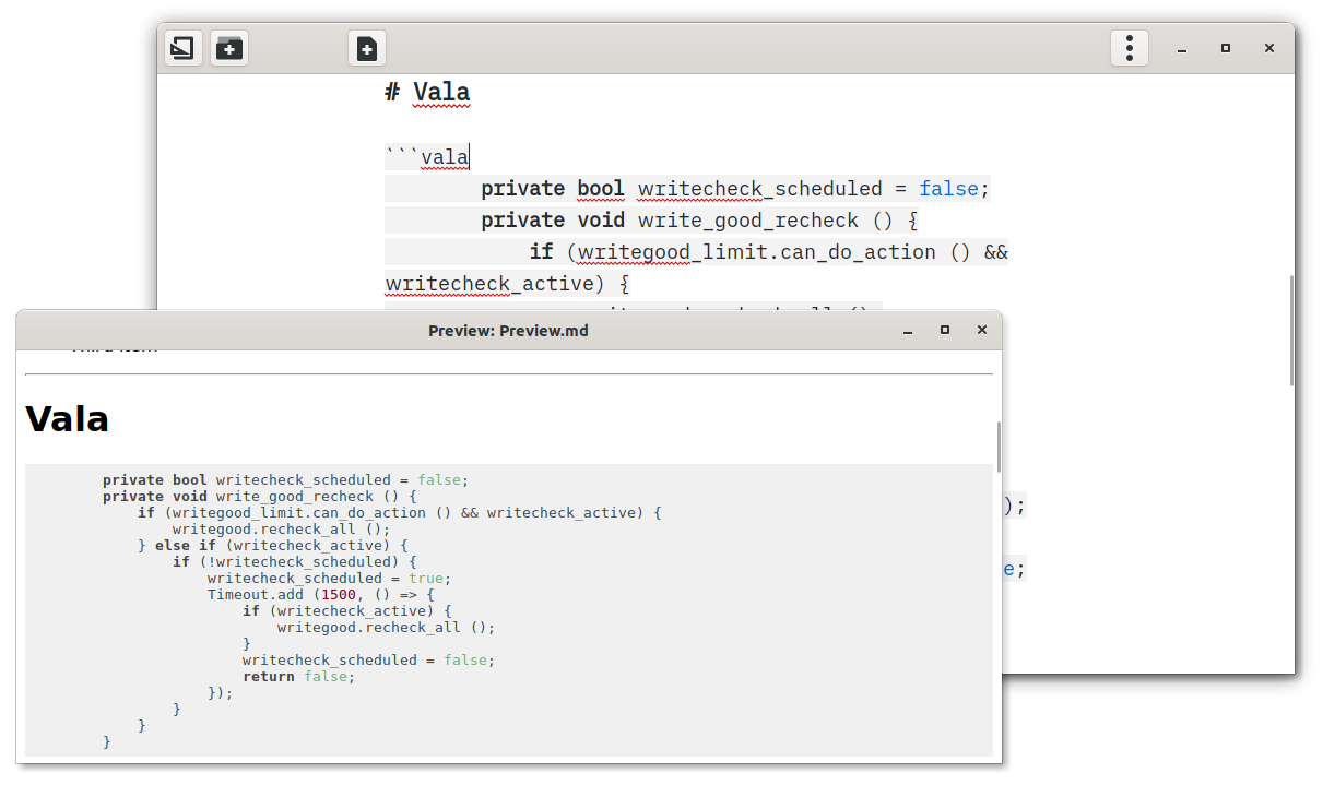 ThiefMD syntax highlighting Vala code in various colors